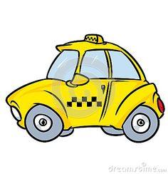 Car mini yellow taxis cartoon illustration image