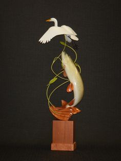 Great Egret and Muskie carving by Ron Bailey Carving, Fish, Wood Carvings, Sculpting, Cut Work, Sculpture