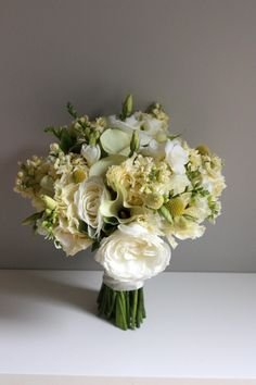 Gorgeous bridal bouquet with an assortment of white, cream, and light yellow flowers along with green accents. Wedding Flower Design, Wedding Flower Inspiration, Wedding Flower Arrangements, Wedding Flowers, Wedding Ideas, Flower Ideas, Yellow Bouquets, Floral Bouquets, Greenery Bouquets