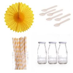 Dress My Cupcake Pinwheels Dessert Table Party Kit, Includes Vintage Glass Milk Bottles with Yellow Striped Straws Dress My Cupcake http://www.amazon.com/dp/B00EIR9UPW/ref=cm_sw_r_pi_dp_dQs4tb07WWXW5