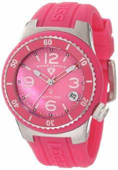 Swiss Legend Women's 11840P-015-MOP Neptune Pink Mother-Of-Pearl Dial Hot Pink Silicone Watch Swiss Legend. $118.50. Water-resistant to 100 M (330 feet). Sapphitek crystal; stainless steel case with hot pink silicone cover; hot pink silicone strap with logo. Date window at 4:00. Swiss quartz movement. Pink mother of pearl dial with silver tone and white hands, white hour markers and Arabic numerals; luminous; unidirectional stainless steel bezel with hot pink top ring; screw-do...