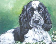 English Cocker Spaniel dog art CANVAS print of LA Shepard painting 8x10