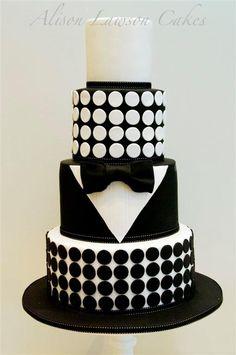 Black and white cake. # wedding, # cakes for men Beautiful Cakes, Amazing Cakes, Fondant Cakes, Cupcake Cakes, Black White Cakes, Black Gold, Black Tie, Tuxedo Cake, Groom Tuxedo