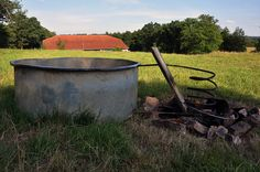 Nice galvanized tub and heated by fire.
