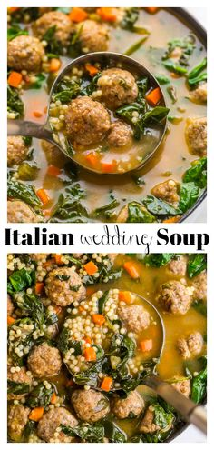 Italian Wedding Soup – Baker by Nature Dinner Soup – Dinner Recipes Beef And Pork Meatballs, Tasty Meatballs, Mini Meatballs, Italian Wedding Soup Recipe, Italian Soup, Italian Wine, Italian Gnocchi, Italian Foods, Italian Recipes