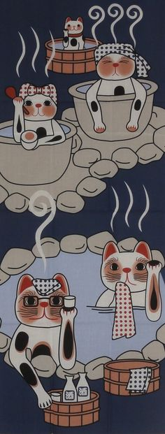 Maneki Neko Family Hot Spring Vacation Motif Tenugui Japanese Fabric