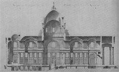 Przekrój przez projekt kościoła św. Genowefy w Paryżu, dzisiejszego Panteonu, 1764. Jacques Germain Soufflot (1713-1780) Projet kopuły kościola był prawdziwie rewolucyjny. Architekt postanowił podnieść profil kopuły i nadać jej niezwykłą lekkość. W tym celu studiował różne kamienne materiały i badał konstrukcję francuskich katedr gotyckich jako lekcję tworzenia wyjątkowo lekkich konstrukcji.