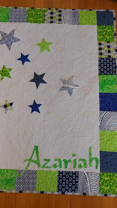 Boy's Baby Quilt Modern Baby Quilt Blue and Green