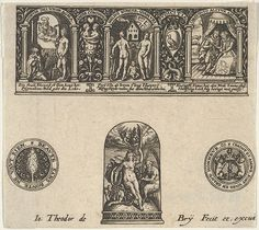 Horizontal Panel with a Thimble Design Below a Frieze with Three Scenes in Arches