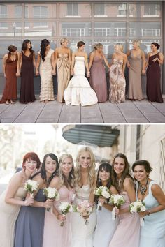 Mismatched bridesmaids dresses- could tie them all together with same/similar color palette or matching ribbon