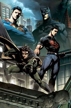 Superman and Batman with their proteges Dick Grayson and Connor Kent. (Robin and Superboy)