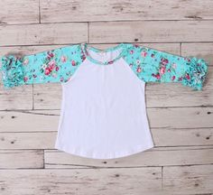 cf6dabe8 Ruffle Raglan Mint Floral. Girls BoutiqueBoutique ClothingGirl Outfits Toddler OutfitsEmbroidery BlanksBaseball ShirtsRufflesKnittingEtsy