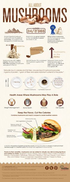All About Mushrooms Infographic Edible Mushrooms, Stuffed Mushrooms, Stuffed Peppers, Wild Mushrooms, Healthy Tips, Healthy Eating, Healthy Recipes, Health Diet, Health And Nutrition