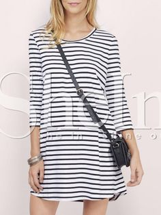 Shop White Black Round Neck Striped Dress online. SheIn offers White Black Round Neck Striped Dress & more to fit your fashionable needs.
