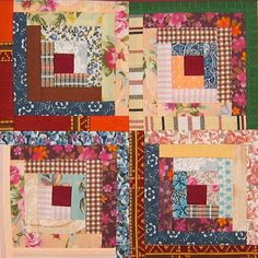 Scrappy Log Cabin Quilt Blocks | FaveQuilts.com