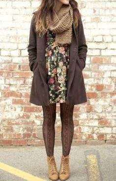 jacket long jacket brown fall outfits pea coat knit knitted scarf tan dress floral black dress black floral dress tights tan boots ankle boots boots scarf shoes