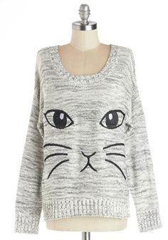 All Eyes on Mew Sweater - Cotton, Knit, Short, Grey, Print with Animals, Cats, Long Sleeve, Better, Grey, Long Sleeve, Casual, Scoop