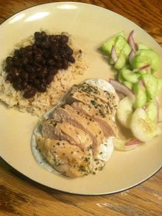"Creamy Cilantro-Lime Chicken, Black Beans&Rice, with Cucumber Salad-""E"" Dinner-THM Inspired"