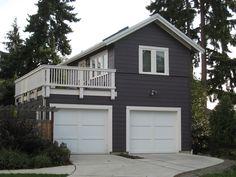 Garage with studio apt and deck facing lake. Justenuf Studio/Garage | Ross Chapin Architects
