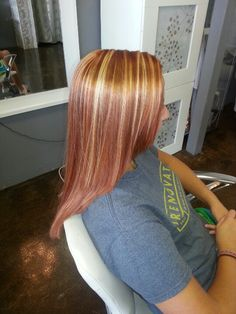 Copper red with blonde highlights