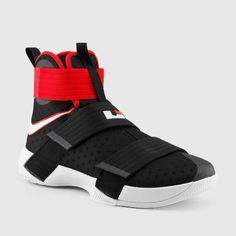 9cb195d35fa7 The shoe LeBron James wore in all of his wins in the NBA Finals has dropped  in a black and red colorway  the Nike LeBron Soldier 10  Bred  is available  now.