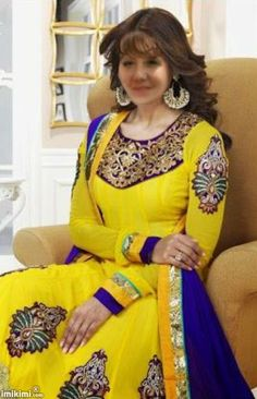 This Yellow Georgette Anarkali Salwar Kameez is amazingly designed with embroidery work and border patch work. Matching shantoon bottom and chiffon dupatta comes along with this. Indian Actress Photos, Beautiful Indian Actress, Indian Actresses, Bollywood Suits, Bollywood Celebrities, Star Fashion, Indian Fashion, Buy Salwar Kameez Online, Anarkali Suits
