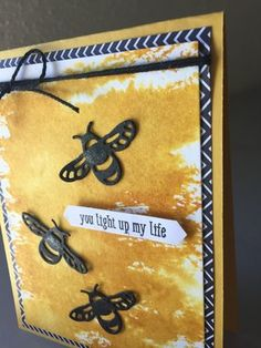 Stampin' Friends Blog Hop, Black, White, and Whatever You Like Theme-- led to bumblebees and Crushed Curry inked card with Pop of Paradise DSP