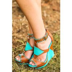 Heart And Sole Wedge-Turquoise - $46.00