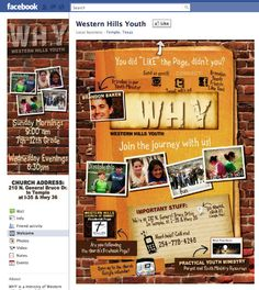 Western Hills Youth (Temple, TX) Custom Facebook Page - Designed by The Marketing Twins Facebook Search, Facebook Fan Page, Texas Western, Churches Of Christ, The Marketing, Page Design, Westerns, Create Yourself, Temple