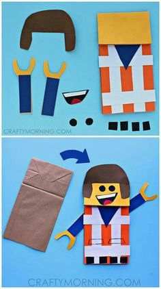 Lego puppet/Craft Paper bag/puppets/titeres.