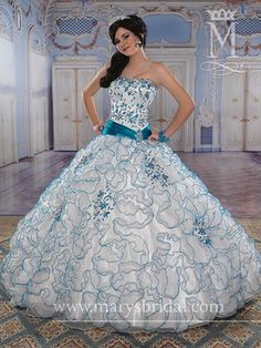Organza strapless Ball gown with Asymmetrical waistline, Rhinestone/Embroidery accents, Lace-up back ,ruffled Bolero White/Turquoise