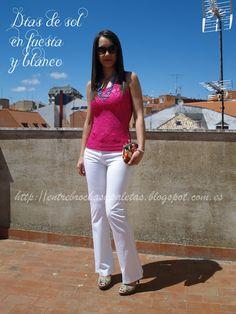 Propuesta de verano fucsia y blanco http://entrebrochasypaletas.blogspot.com.es/2013/08/propuesta-de-verano-fucsia-y-blanco.html #ouftif #Xti #chicnova #Loeds #ringsandthing #beauty