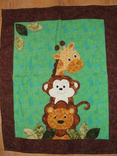 Farm Animal Quilt | Jungle animal baby quilt - QUILTING