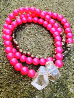 Neon Pink Freshwater Pearls & Golden Pyrite by OohlalaGems on Etsy, $42.00