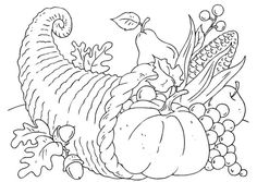 Coloring page thanksgiving basket - Cornucopia
