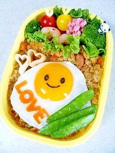 """Fried egg DE smile lunch ♪"" - japanese recipe/目玉焼きDEニコニコ弁当♪  #Charaben #Kyaraben #Bento"