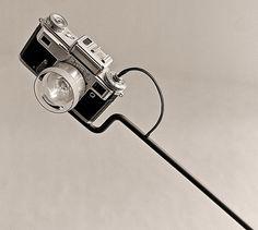 Vintage camera gear turned into unique desk lamps by YStudio