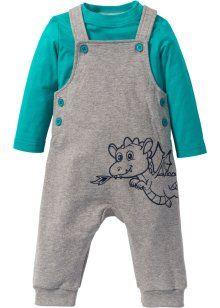 Для малышей: футболка с длинным рукавом + трикотажный комбинезон из биохлопка (2 изд.), bpc bonprix collection, изумрудный/светло-серый меланж