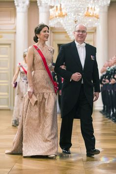 Prince Albert of Monaco and Crown Princess Mary of Denmark made an appearance for the royal couple's joint celebrations. The stylish Danish Crown Princess made a bold sartorial statement, choosing a peplum skirt instead of a traditional full gown