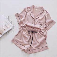 Silk Home Wear Short Women Pijama – sherazad shop Cute Sleepwear, Sleepwear Sets, Sleepwear Women, Women's Loungewear, Silk Sleepwear, Cute Pajama Sets, Cute Pajamas, Sexy Pajamas, Flannel Pajamas