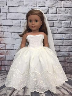 Excited to share this item from my shop: American Girl Vintage Ivory Lace Wedding Bride or First Communion Gown Set Gorgeous ivory Vintage lace vintage style bridal gown with flower veil-custom made set for 18 Custom American Girl Dolls, American Doll Clothes, Girl Doll Clothes, American Dolls, American Girl Stuff, Baby Girl Dress Patterns, Wedding Dress Patterns, Wedding Dresses For Girls, Flower Girl Dresses