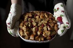 Cranberry Apple Bread Pudding with Butter Rum Sauce