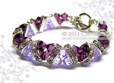 Swarovski Bracelet, Purple Amethyst Crystal Cuff Bracelet by CandyBead