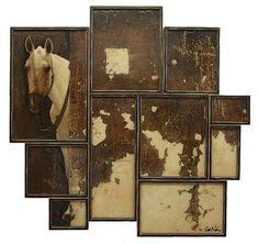 "Judith Kindler- Discreet, 2012, Mixed Media on 10 panels, 56"" X 57"""