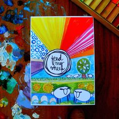 feed my sheep - 5 x 7 inches by silvertreeart on Etsy