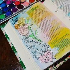 A little Bible journaling tonight to unwind. #biblejournaling #illustratedfaith #icolorinmybible by whatadayforadaydream