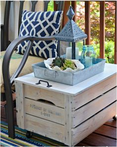 repurposed crate storage side table 23 DIY Pallet Patio Furniture Projects To Get Your Hands Dirty With Pallet Furniture, Furniture Projects, Home Projects, Outdoor Furniture, Outdoor Projects, Backyard Furniture, Porch Furniture, Antique Furniture, Crate Storage