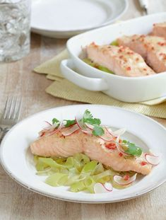 Yuzu Salmon with Leeks
