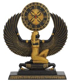 "17.5"" Egyptian Clock Isis Statue Sculpture Egypt Figure Queen"