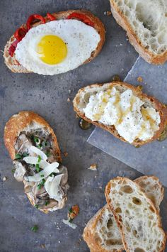 Ricotta and Honey,   Creamy Mushroom and Parmesan,   Fried Quail Egg and Roasted Pepper Crostinis